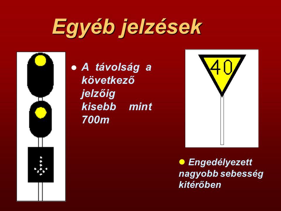 Egyéb jelzések l A távolság a következő jelzőig kisebb mint 700m l Engedélyezett nagyobb sebesség kitérőben