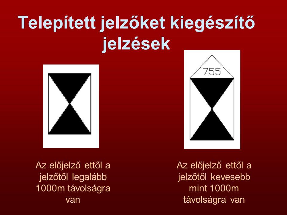 Telepített jelzőket kiegészítő jelzések Bejárati, kijárati, áthaladó és váltó fényjelzők ismertető jele.
