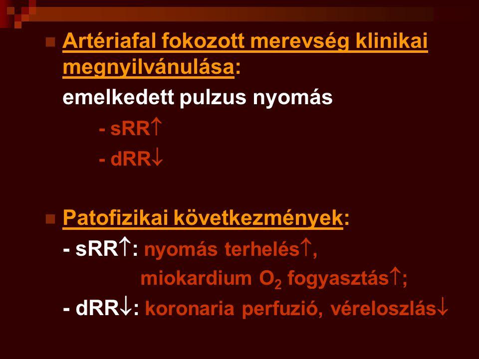 Artériafal fokozott merevség klinikai megnyilvánulása: emelkedett pulzus nyomás - sRR  - dRR  Patofizikai következmények: - sRR  : nyomás terhelés