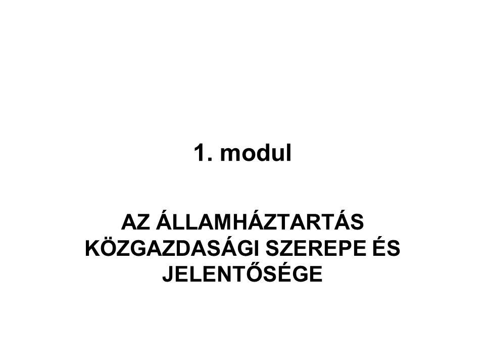 1. modul AZ ÁLLAMHÁZTARTÁS KÖZGAZDASÁGI SZEREPE ÉS JELENTŐSÉGE