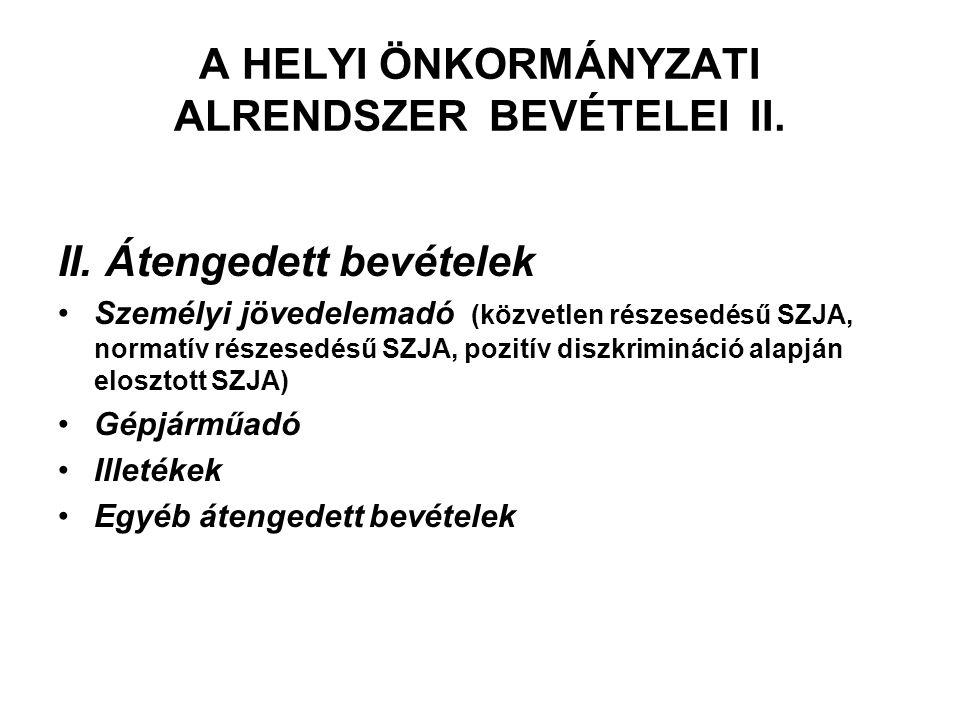 A HELYI ÖNKORMÁNYZATI ALRENDSZER BEVÉTELEI II. II. Átengedett bevételek Személyi jövedelemadó (közvetlen részesedésű SZJA, normatív részesedésű SZJA,