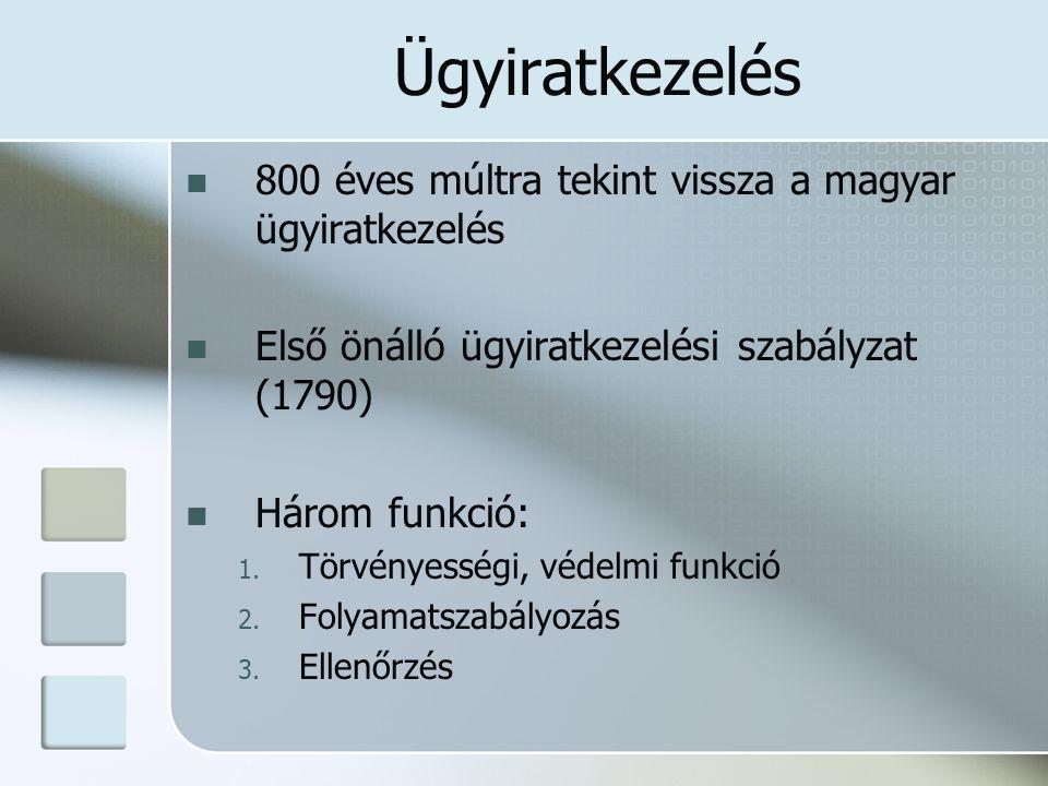 800 éves múltra tekint vissza a magyar ügyiratkezelés Első önálló ügyiratkezelési szabályzat (1790) Három funkció: 1.