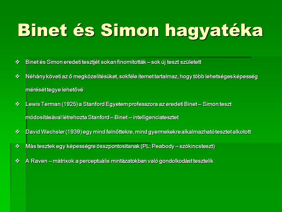 Binet és Simon hagyatéka  Binet és Simon eredeti tesztjét sokan finomították – sok új teszt született  Néhány követi az ő megközelítésüket, sokféle