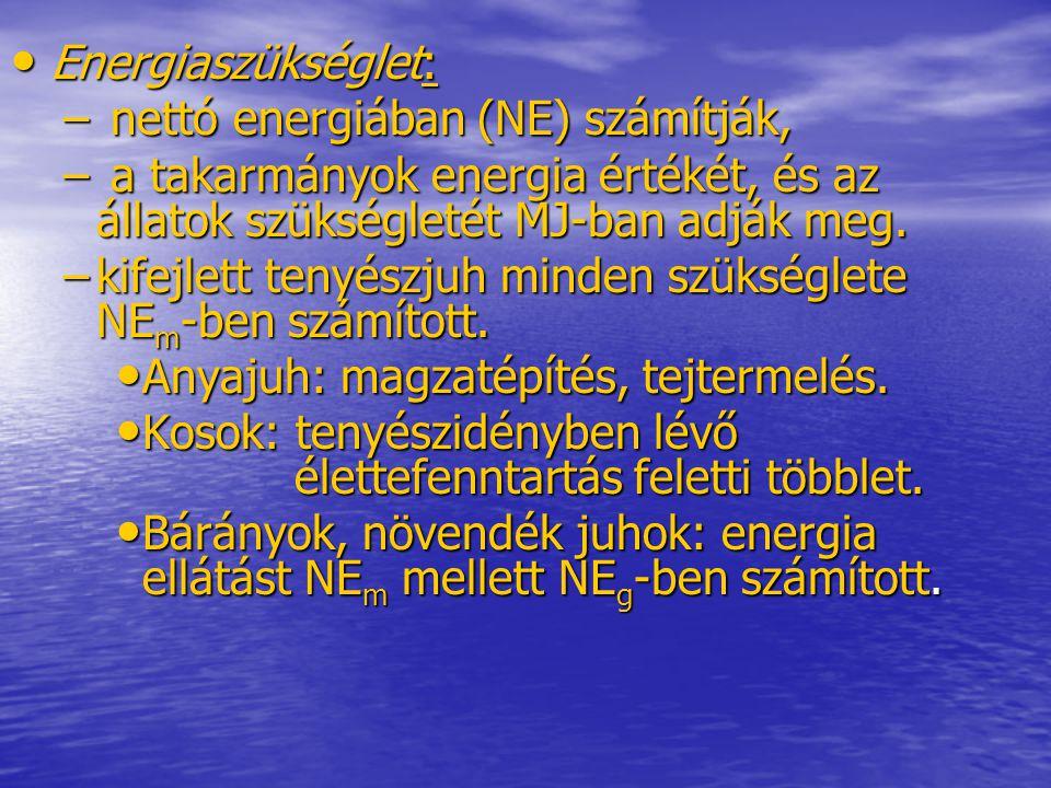 Energiaszükséglet: Energiaszükséglet: – nettó energiában (NE) számítják, – a takarmányok energia értékét, és az állatok szükségletét MJ-ban adják meg.