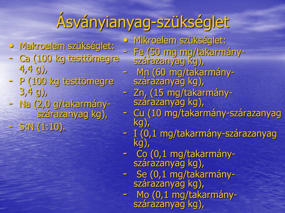 Ásványianyag-szükséglet Makroelem szükséglet: Makroelem szükséglet: - Ca (100 kg testtömegre 4,4 g), - P (100 kg testtömegre 3,4 g), - Na (2,0 g/takar