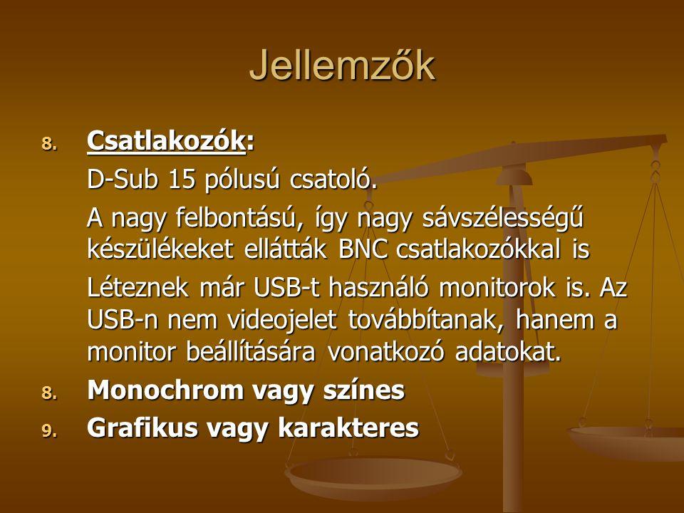 Jellemzők 8.Csatlakozók: D-Sub 15 pólusú csatoló.