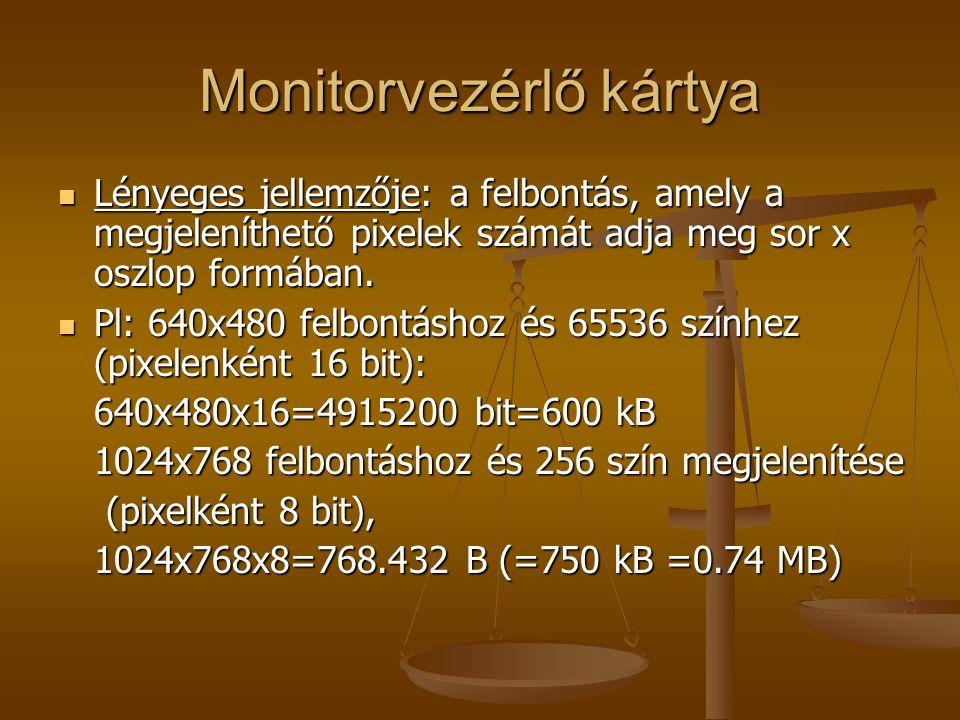 Monitorvezérlő kártya Lényeges jellemzője: a felbontás, amely a megjeleníthető pixelek számát adja meg sor x oszlop formában.