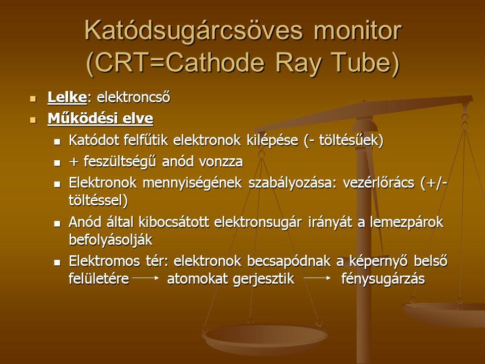 Katódsugárcsöves monitor (CRT=Cathode Ray Tube) Típusok: Típusok: Monokróm monitorok Monokróm monitorok Régebbi típusok, kétféle üzemmód: karakteres, grafikus Egy szín megjelenítése (fekete alapon fehér vagy sárga vagy zöld szín) Színes monitorok: Színes monitorok: Minden képernyőponthoz tartozik egy piros (R = red), egy zöld (G = green) és egy kék (B = blue) foszforpont színes képpont.