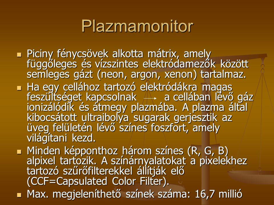 Plazmamonitor Hátránya: a képpontok meglehetősen nagy mérete nagyméretű TV v.