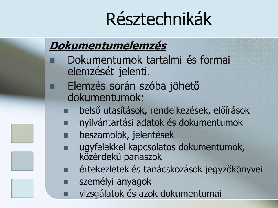 Résztechnikák További résztechnikák: Munkanap-fényképezés Ügyfélforgalmi vizsgálat Funkciógyakoriság elemzés Munkakörelemzés