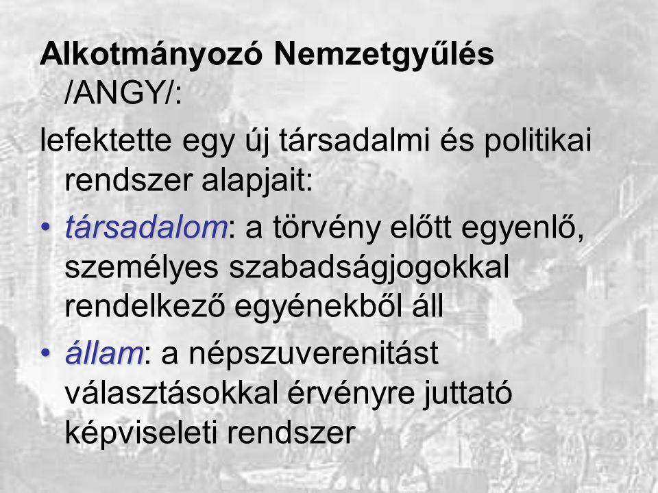 Alkotmányozó Nemzetgyűlés /ANGY/: lefektette egy új társadalmi és politikai rendszer alapjait: társadalomtársadalom: a törvény előtt egyenlő, személye