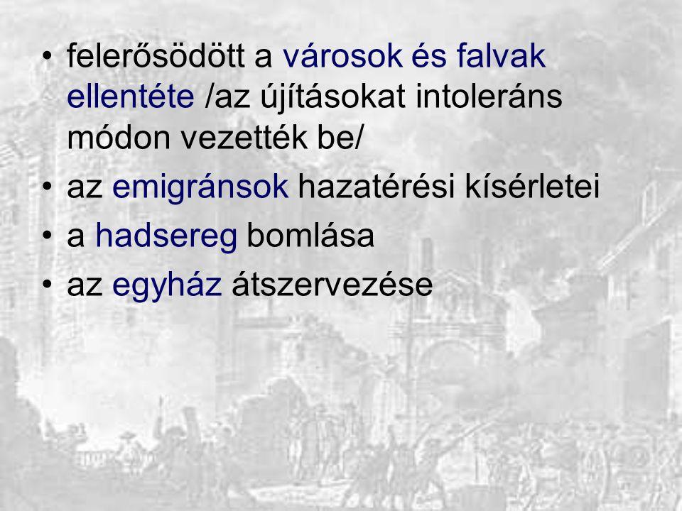 felerősödött a városok és falvak ellentéte /az újításokat intoleráns módon vezették be/ az emigránsok hazatérési kísérletei a hadsereg bomlása az egyh