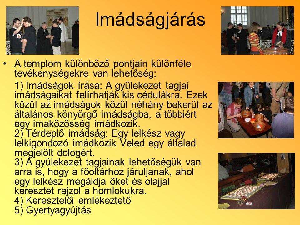 Imádságjárás A templom különböző pontjain különféle tevékenységekre van lehetőség: 1) Imádságok írása: A gyülekezet tagjai imádságaikat felírhatják ki