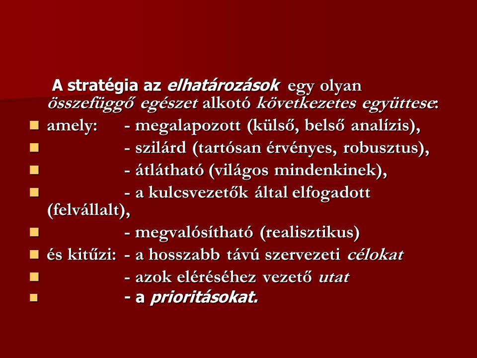 A stratégia az elhatározások egy olyan összefüggő egészet alkotó következetes együttese: A stratégia az elhatározások egy olyan összefüggő egészet alkotó következetes együttese: amely:- megalapozott (külső, belső analízis), amely:- megalapozott (külső, belső analízis), - szilárd (tartósan érvényes, robusztus), - szilárd (tartósan érvényes, robusztus), - átlátható (világos mindenkinek), - átlátható (világos mindenkinek), - a kulcsvezetők által elfogadott (felvállalt), - a kulcsvezetők által elfogadott (felvállalt), - megvalósítható (realisztikus) - megvalósítható (realisztikus) és kitűzi: - a hosszabb távú szervezeti célokat és kitűzi: - a hosszabb távú szervezeti célokat - azok eléréséhez vezető utat - azok eléréséhez vezető utat - a prioritásokat.