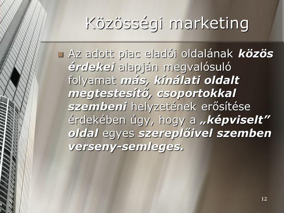12 Közösségi marketing Az adott piac eladói oldalának közös érdekei alapján megvalósuló folyamat más, kínálati oldalt megtestesítő, csoportokkal szemb
