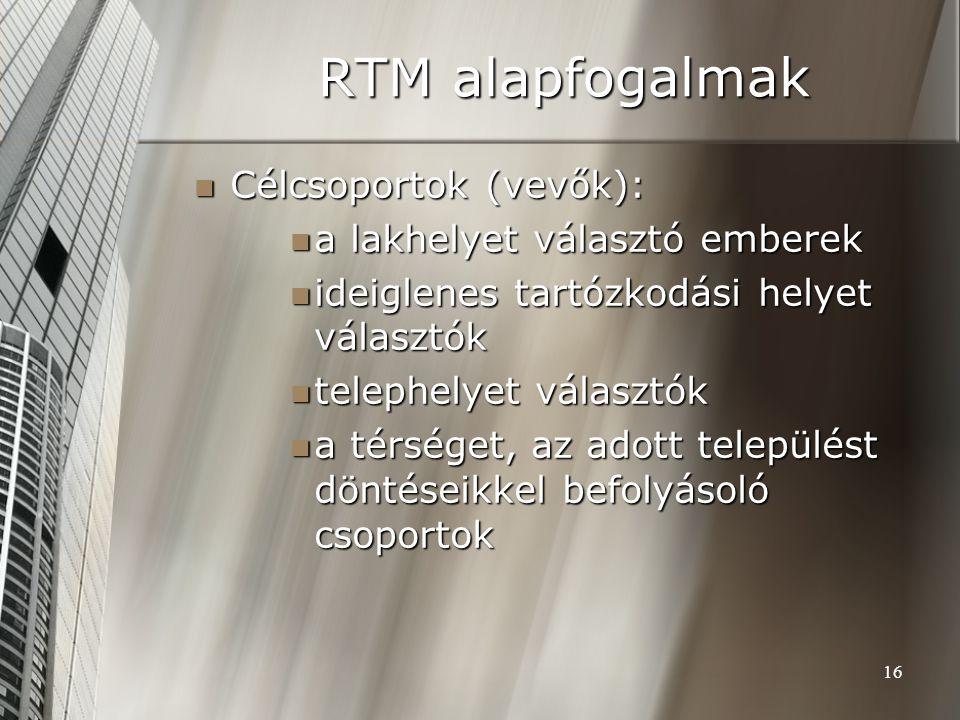 16 RTM alapfogalmak Célcsoportok (vevők): Célcsoportok (vevők): a lakhelyet választó emberek a lakhelyet választó emberek ideiglenes tartózkodási hely