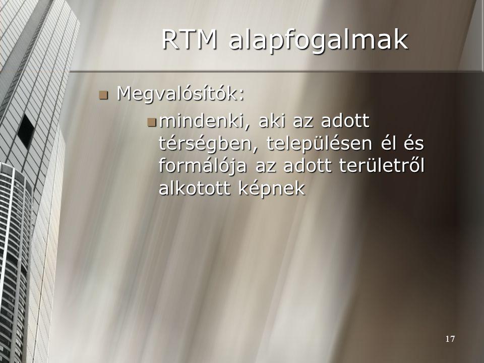 17 RTM alapfogalmak Megvalósítók: Megvalósítók: mindenki, aki az adott térségben, településen él és formálója az adott területről alkotott képnek mind