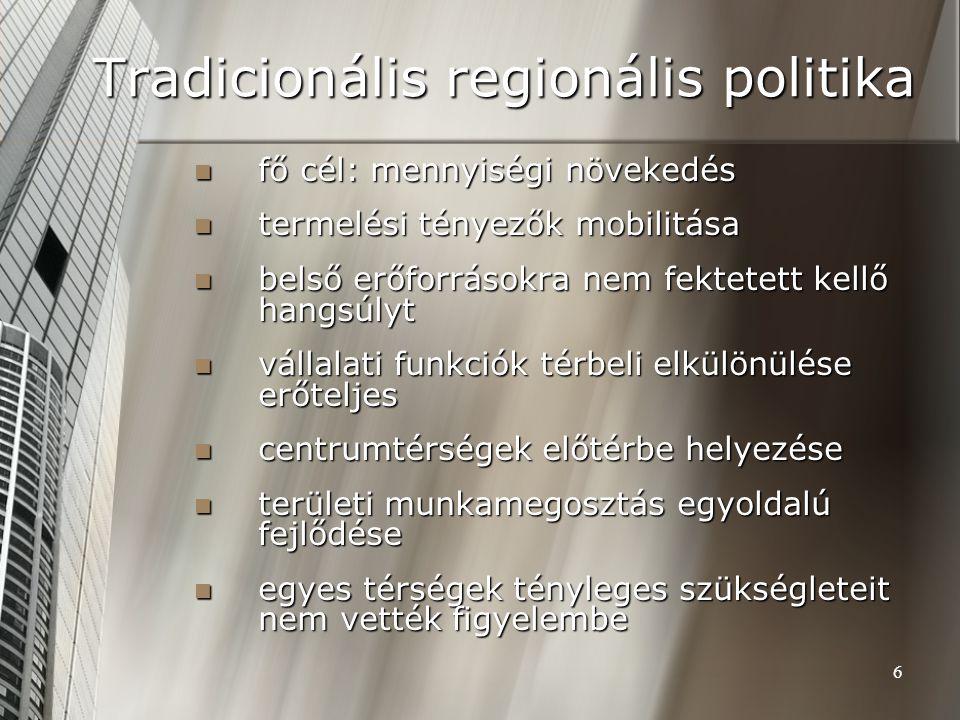 6 Tradicionális regionális politika fő cél: mennyiségi növekedés fő cél: mennyiségi növekedés termelési tényezők mobilitása termelési tényezők mobilit