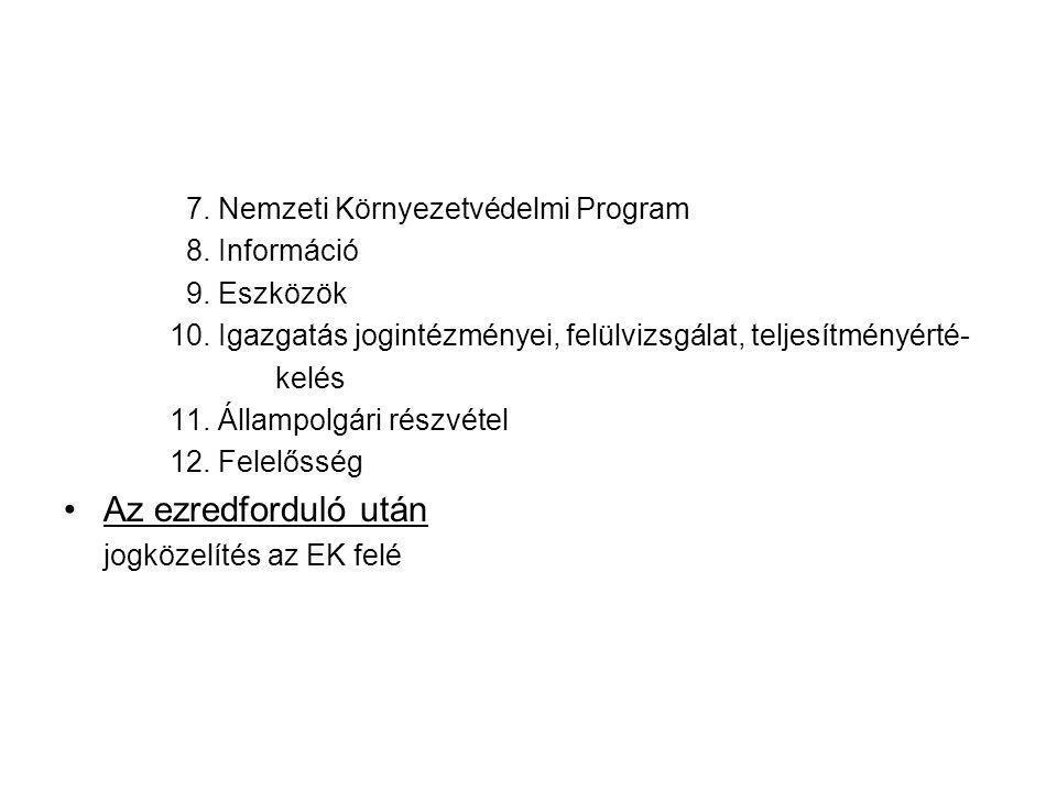 7. Nemzeti Környezetvédelmi Program 8. Információ 9. Eszközök 10. Igazgatás jogintézményei, felülvizsgálat, teljesítményérté- kelés 11. Állampolgári r