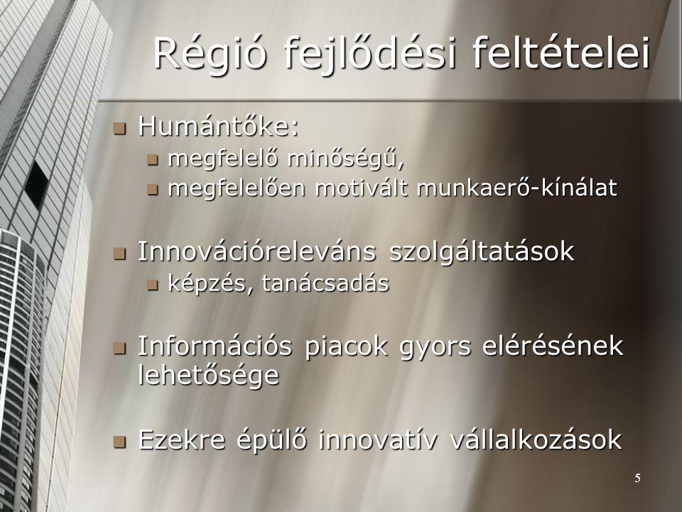 5 Régió fejlődési feltételei Humántőke: Humántőke: megfelelő minőségű, megfelelő minőségű, megfelelően motivált munkaerő-kínálat megfelelően motivált