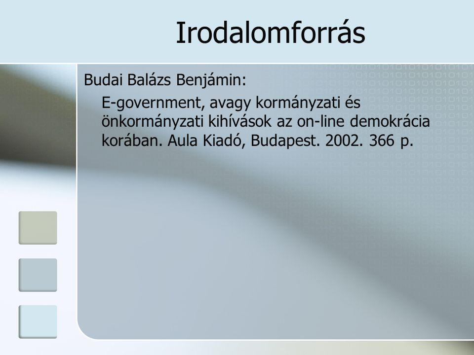 Irodalomforrás Budai Balázs Benjámin: E-government, avagy kormányzati és önkormányzati kihívások az on-line demokrácia korában. Aula Kiadó, Budapest.
