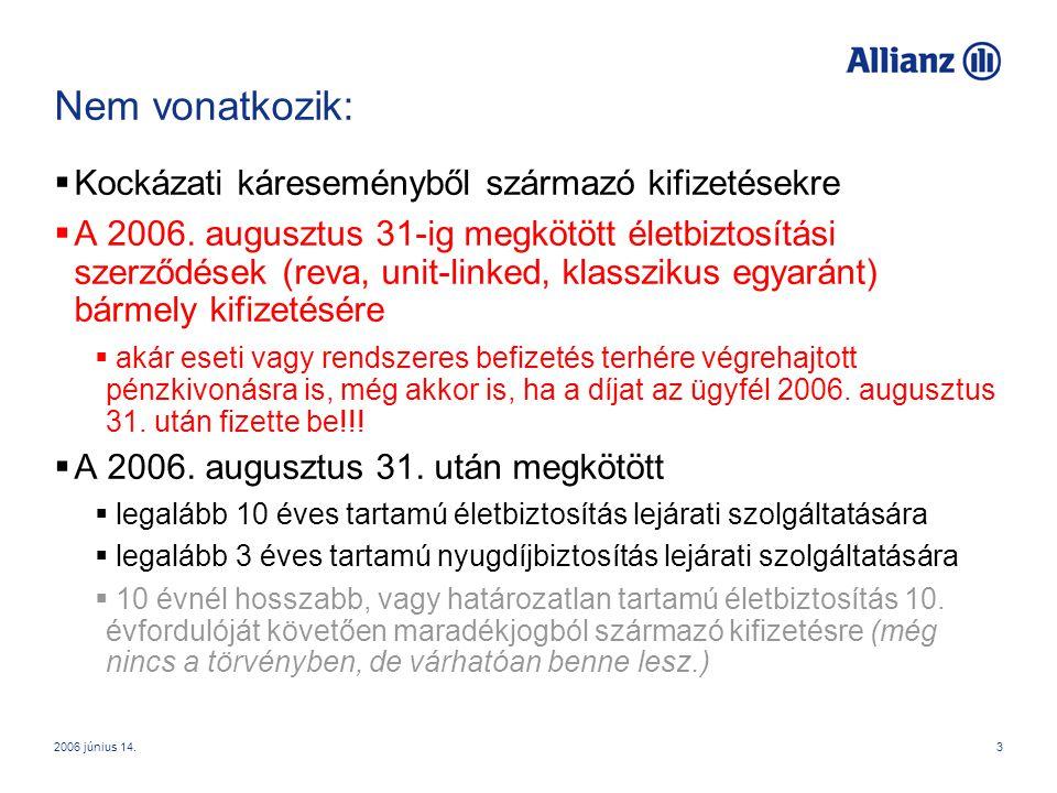 2006 június 14.4 Következmény:  Kitűnő kiegészítő értékesítési érv az Allianz Életprogram és Allianz Bónusz Életprogram mellett augusztus 31-ig.