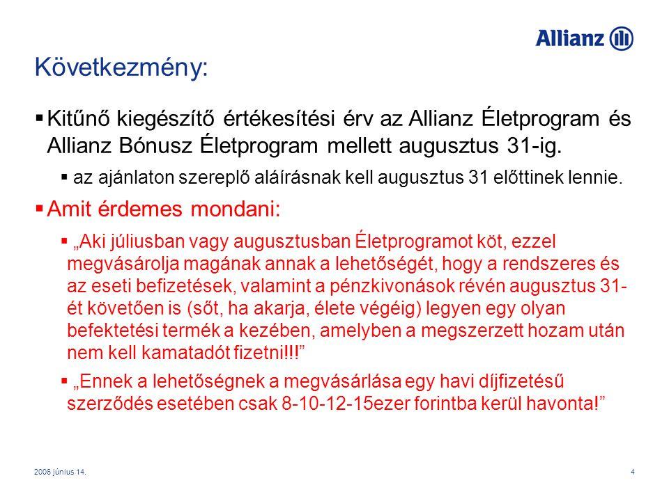 2006 június 14.5 Feladat a régiók, fiókok számára: minél több lehetséges ügyfélhez eljuttatni ezt az információt!!.