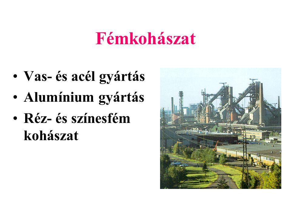 Fémkohászat Vas- és acél gyártás Alumínium gyártás Réz- és színesfém kohászat