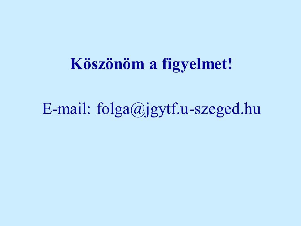 Köszönöm a figyelmet! E-mail: folga@jgytf.u-szeged.hu