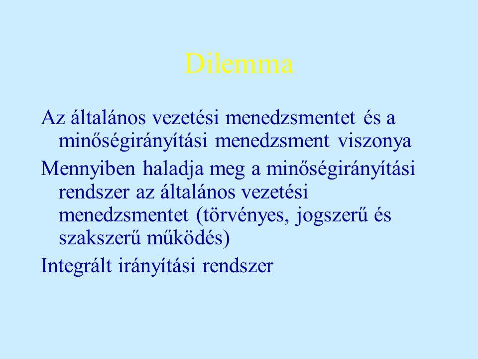 Dilemma Az általános vezetési menedzsmentet és a minőségirányítási menedzsment viszonya Mennyiben haladja meg a minőségirányítási rendszer az általános vezetési menedzsmentet (törvényes, jogszerű és szakszerű működés) Integrált irányítási rendszer