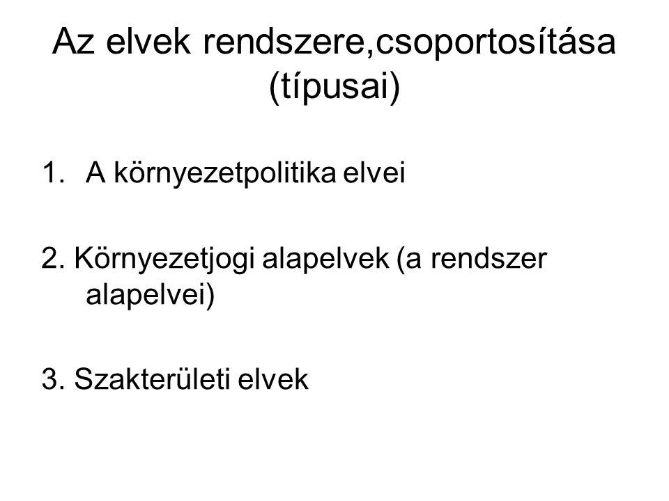 Az elvek rendszere,csoportosítása (típusai) 1.A környezetpolitika elvei 2. Környezetjogi alapelvek (a rendszer alapelvei) 3. Szakterületi elvek
