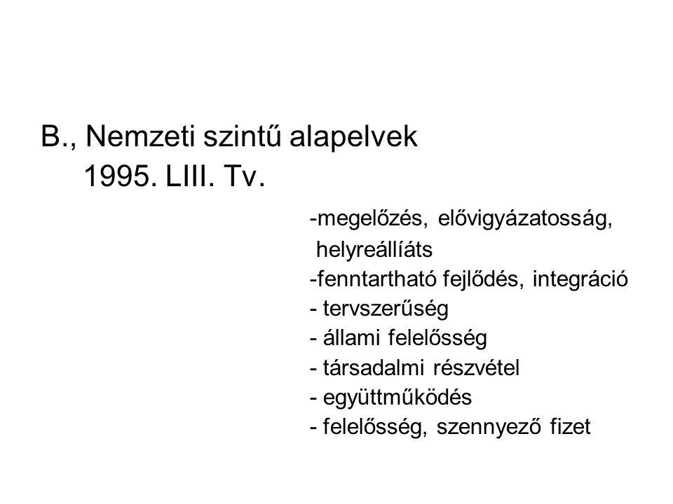 B., Nemzeti szintű alapelvek 1995. LIII. Tv. -megelőzés, elővigyázatosság, helyreállíáts -fenntartható fejlődés, integráció - tervszerűség - állami fe