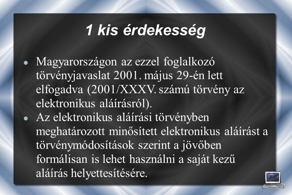 ● Magyarországon az ezzel foglalkozó törvényjavaslat 2001.