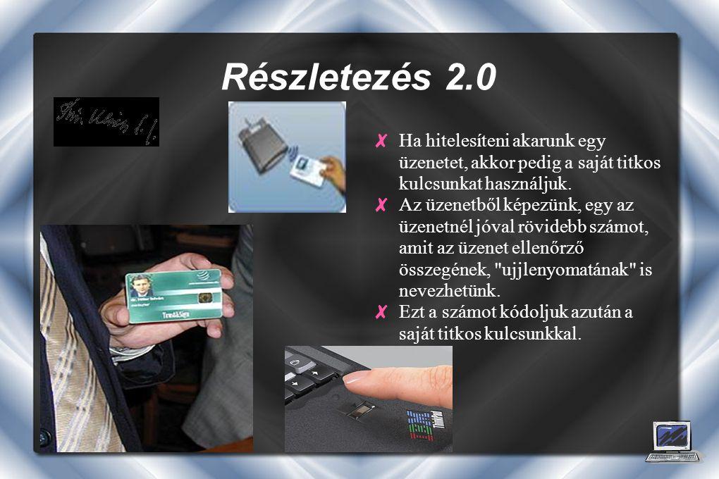 Részletezés 2.0 ✘ Ha hitelesíteni akarunk egy üzenetet, akkor pedig a saját titkos kulcsunkat használjuk.