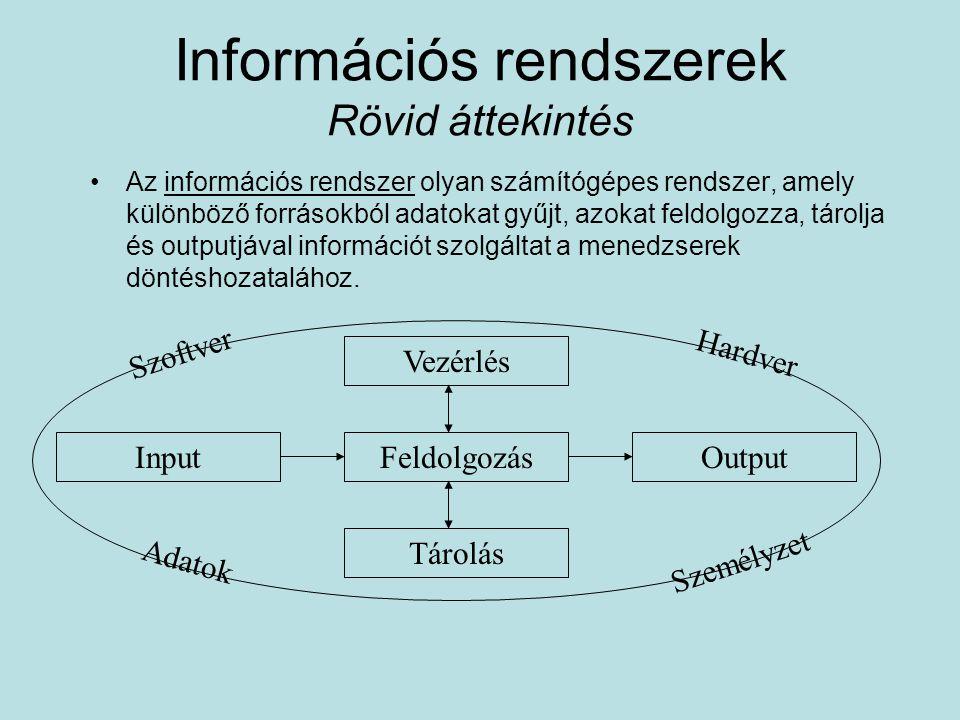 Információs rendszerek Rövid áttekintés Az információs rendszer olyan számítógépes rendszer, amely különböző forrásokból adatokat gyűjt, azokat feldol