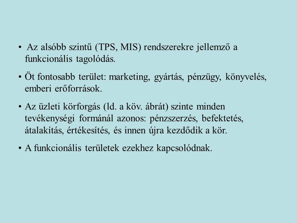 Az alsóbb szintű (TPS, MIS) rendszerekre jellemző a funkcionális tagolódás. Öt fontosabb terület: marketing, gyártás, pénzügy, könyvelés, emberi erőfo