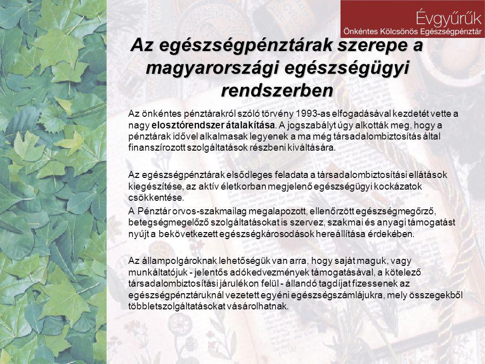 Az egészségpénztárak szerepe a magyarországi egészségügyi rendszerben Az önkéntes pénztárakról szóló törvény 1993-as elfogadásával kezdetét vette a na