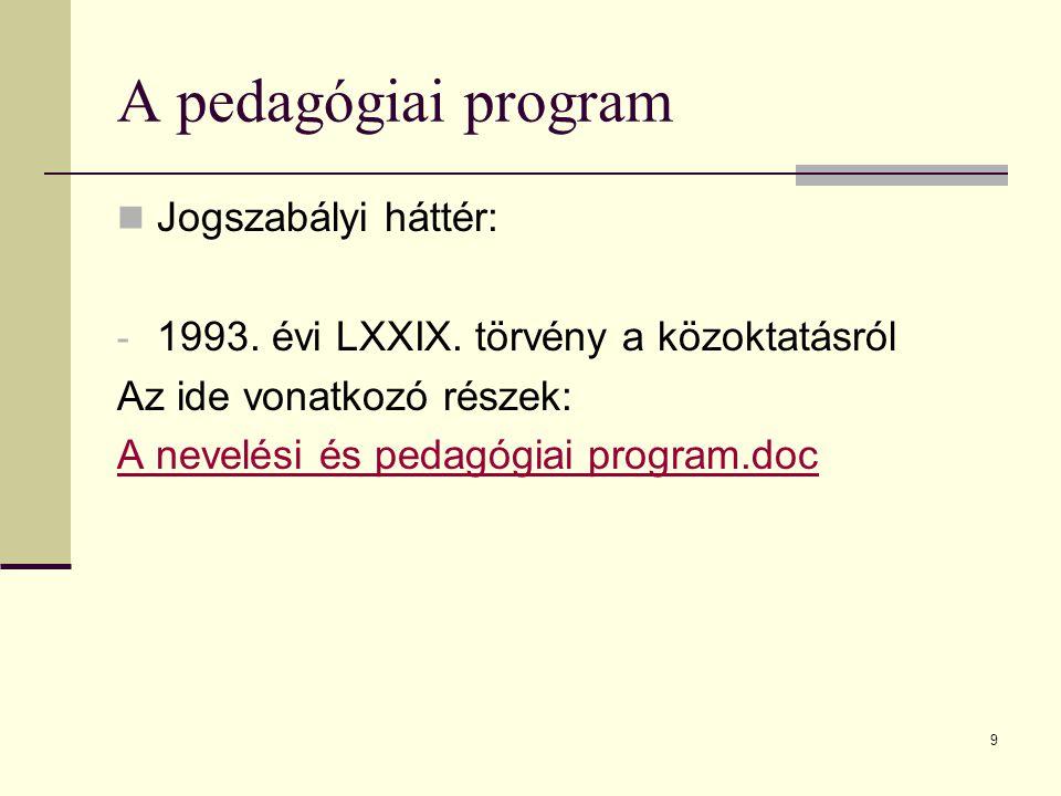9 A pedagógiai program Jogszabályi háttér: - 1993.