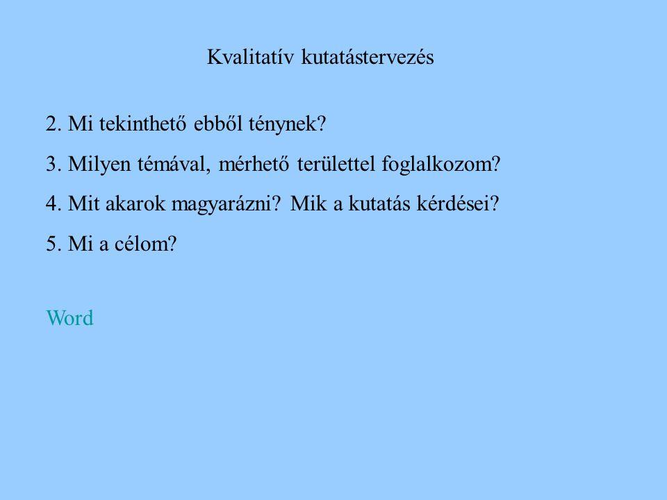 Kvalitatív kutatástervezés Kutatási terv ebben az esetben is szükséges Az alábbi kérdésekre kell válaszolni: 1.