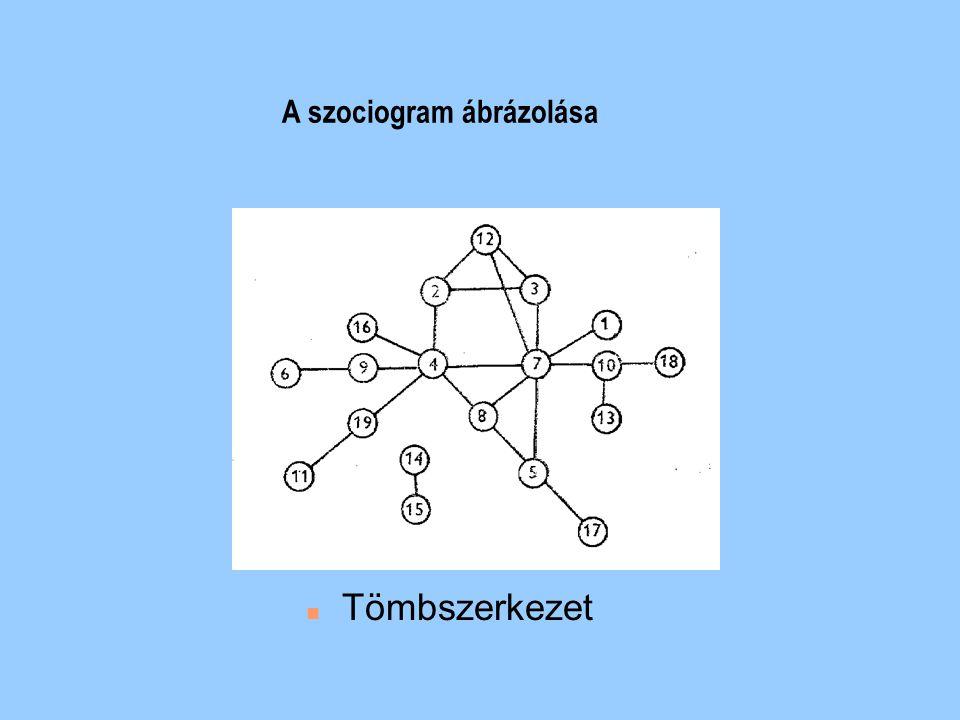 n Többközpontú, fejlett osztályszerkezet A szociogram ábrázolása