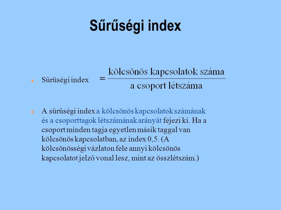 Kölcsönösségi index A kölcsönösségi index a kölcsönös kapcsolattal rendelkező csoporttagok számát fejezi ki a csoport összes taglétszámához képest.