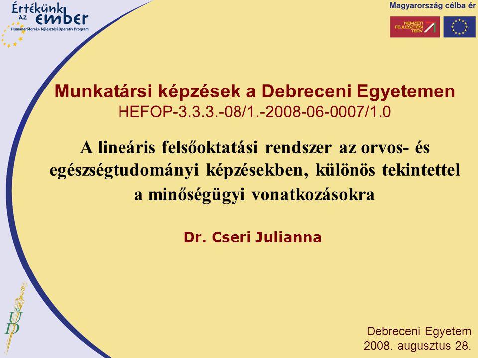 Előzmények MINŐSÉGI OKTATÁS HATÉKONY VEZETÉSSEL EURÓPAI DIMENZIÓBAN HEFOP 3.3.1-P-2004-09-0113/1.0 Konzorciumvezető: Nyíregyházi Főiskola A projekt célja volt a felsőoktatási intézmények minőségirányításának a bolognai folyamattal összhangban történő fejlesztése, összehasonlítható kritériumokon alapuló minőség-modell kidolgozása és tesztelése.