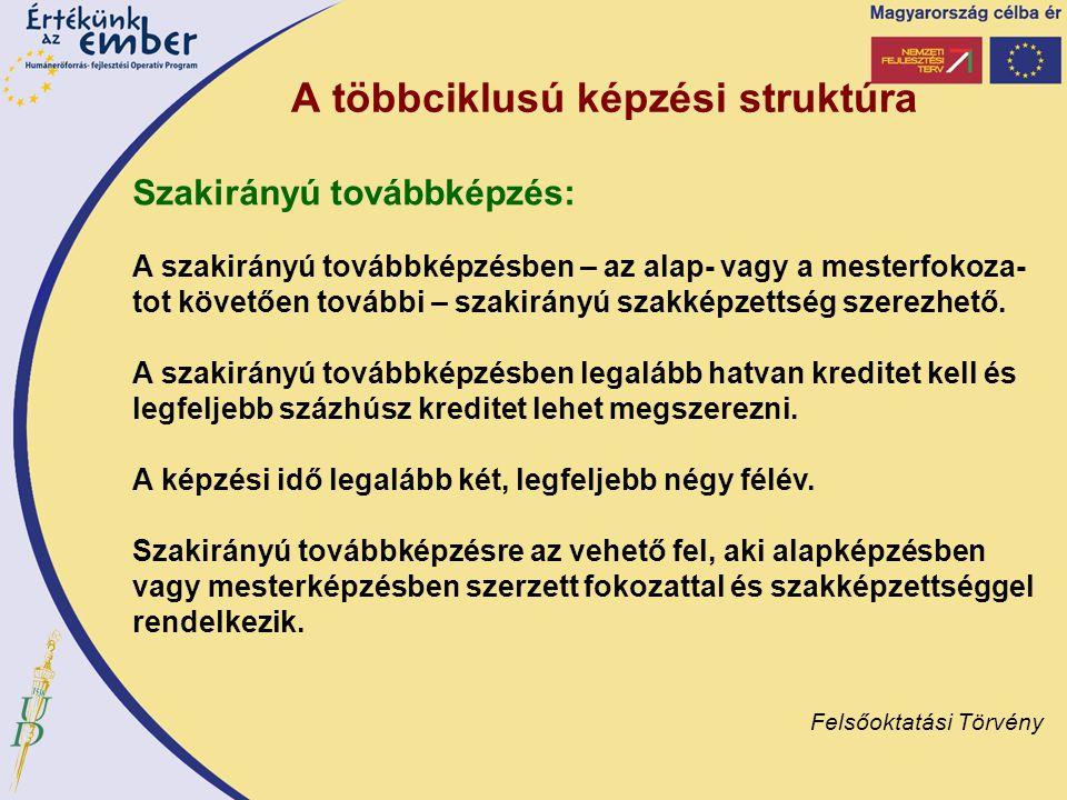 A többciklusú képzési struktúra Szakirányú továbbképzés: A szakirányú továbbképzésben – az alap- vagy a mesterfokoza- tot követően további – szakirány