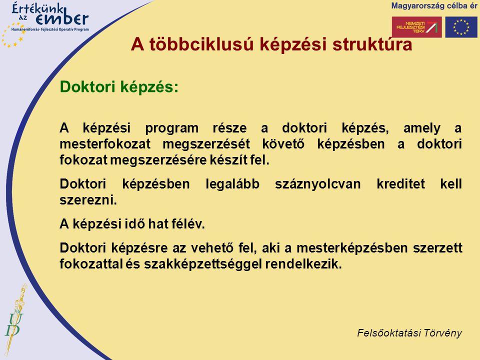 A többciklusú képzési struktúra Doktori képzés: A képzési program része a doktori képzés, amely a mesterfokozat megszerzését követő képzésben a doktor