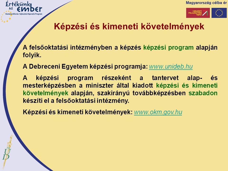 Képzési és kimeneti követelmények A felsőoktatási intézményben a képzés képzési program alapján folyik. A Debreceni Egyetem képzési programja: www.uni