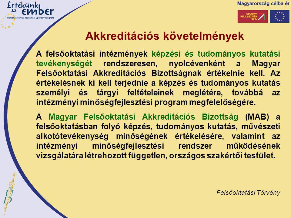 Akkreditációs követelmények A felsőoktatási intézmények képzési és tudományos kutatási tevékenységét rendszeresen, nyolcévenként a Magyar Felsőoktatás
