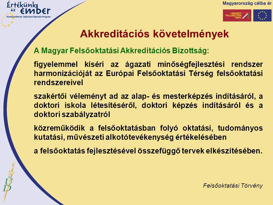 Akkreditációs követelmények A Magyar Felsőoktatási Akkreditációs Bizottság: figyelemmel kíséri az ágazati minőségfejlesztési rendszer harmonizációját