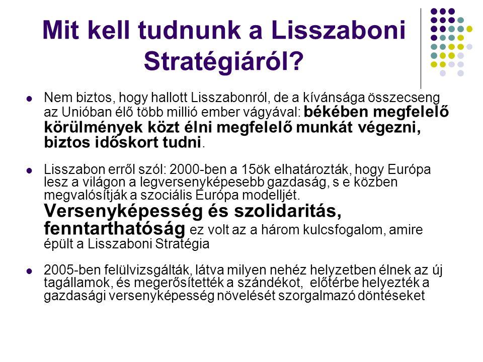 A Lisszaboni Stratégia Az EU gazdasági növekedését és munkahelyteremtést célzó tízéves stratégiája.
