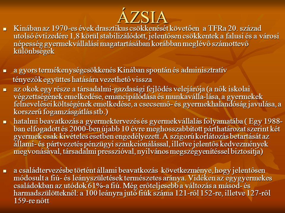 ÁZSIA Kinában az 1970-es évek drasztikus csökkenését követően a TFRa 20.