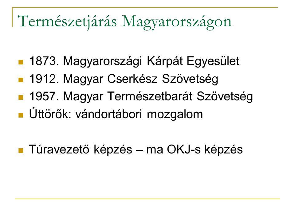 Természetjárás Magyarországon 1873. Magyarországi Kárpát Egyesület 1912. Magyar Cserkész Szövetség 1957. Magyar Természetbarát Szövetség Úttörők: vánd